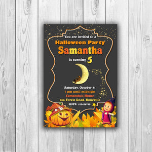 Halloween Birthday Invitation, Halloween Party Invitation, Halloween Invitation, Masha and the Bear Halloween Invitation - ONLY FILE