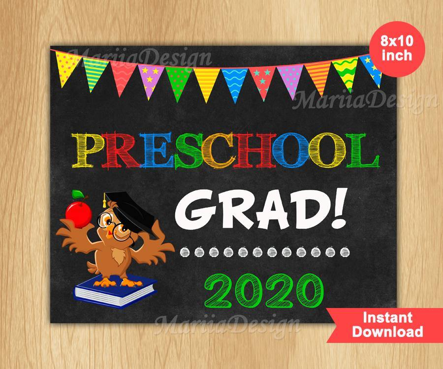 Preschool Graduation Sign, Last Day of Preschool Sign, Preschool Grad, instant download - mariiadesignshop