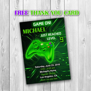 Video Game Party Invitations, Video Game Invitation, Gaming Party Invitation, Video Game Birthday, Video Game Green Invitation - ONLY FILE