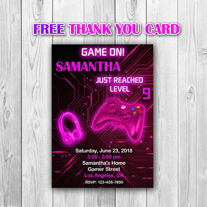 Video Game Party Invitations, Video Game Invitation, Gaming Party Invitation, Video Game Birthday, Video Game Pink Invitation - ONLY FILE - mariiadesignshop