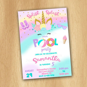 Pool Party Birthday Invitation, Pool Party Invitation, Pool party invitations for kids, Unicorn Pool Party Invitation, personalized