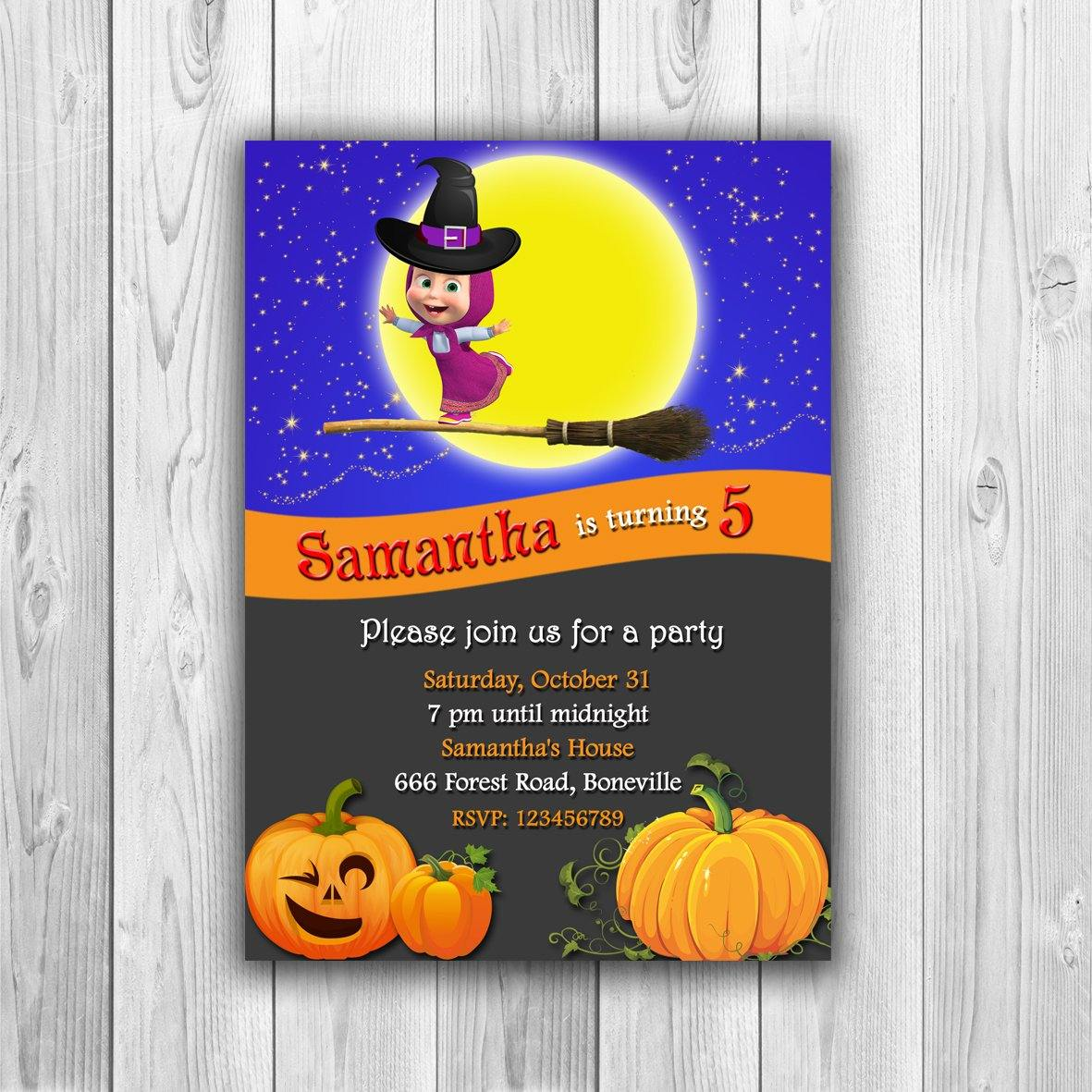 Halloween Birthday Invitation, Halloween Party Invitation, Halloween Invitation, Masha and the Bear Halloween Invitation - ONLY FILE - mariiadesignshop