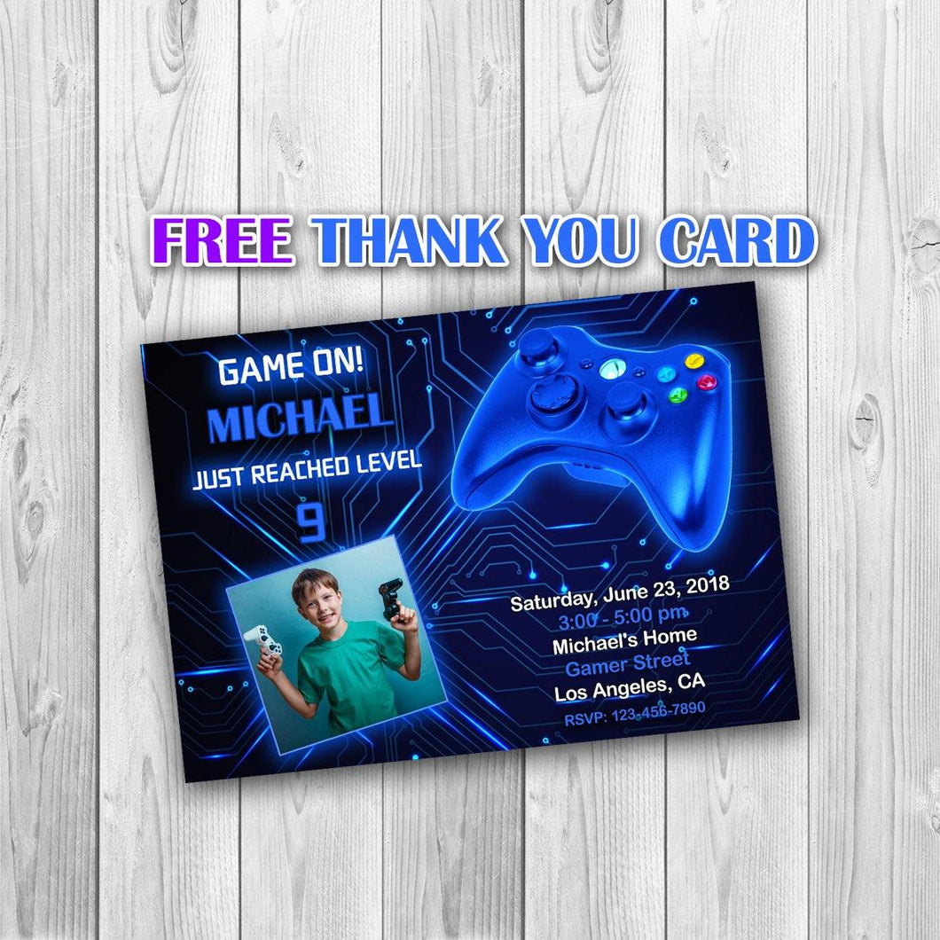 Video Game Party Invitations, Video Game Invitation, Video Game Photo Invitation, Video Game Boy Invitation, Gaming Invitation - ONLY FILE
