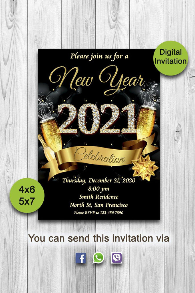 New Years Invitation, New Years Party Invitation, New Year's Eve Party Invitation, New Years Eve Invitation, 2021 New Year Invite, ONLY FILE - mariiadesignshop
