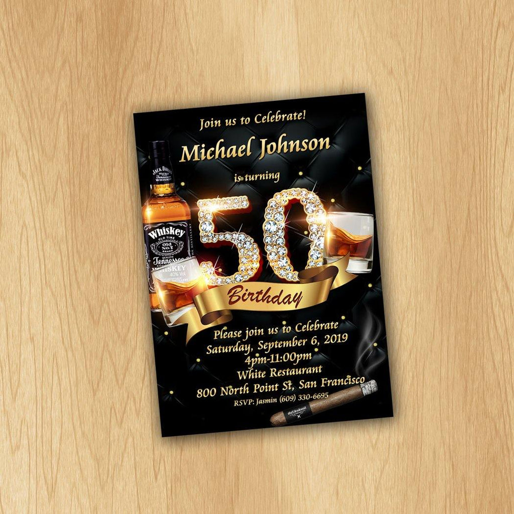 Cigar and Cognac Birthday Invitation, 50th birthday invitation, Men Birthday Invitation, Whiskey and Cigar Invitation - ONLY FILE - mariiadesignshop
