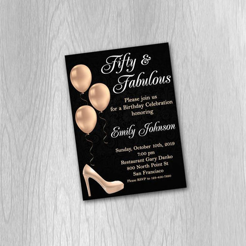 50th birthday invitation for women, Fifty and Fabulous Invitation, Rose gold Invitation, 40th birthday Invitation, 50th birthday invitation