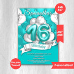 Load image into Gallery viewer, Sweet 16 Invitation, Sweet Sixteen Invitation, Quinceanera invitation, Sweet 16 Birthday Invitation - ONLY FILE