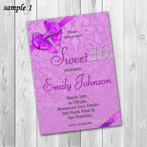 Sweet 16 Invitation, Sweet Sixteen Invitation, Quinceanera invitation, Elegant Invitation- ONLY FILE