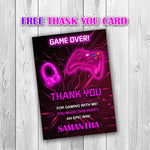 Load image into Gallery viewer, Video Game Party Invitations, Video Game Invitation, Gaming Party Invitation, Video Game Birthday, Video Game Pink Invitation - ONLY FILE - mariiadesignshop