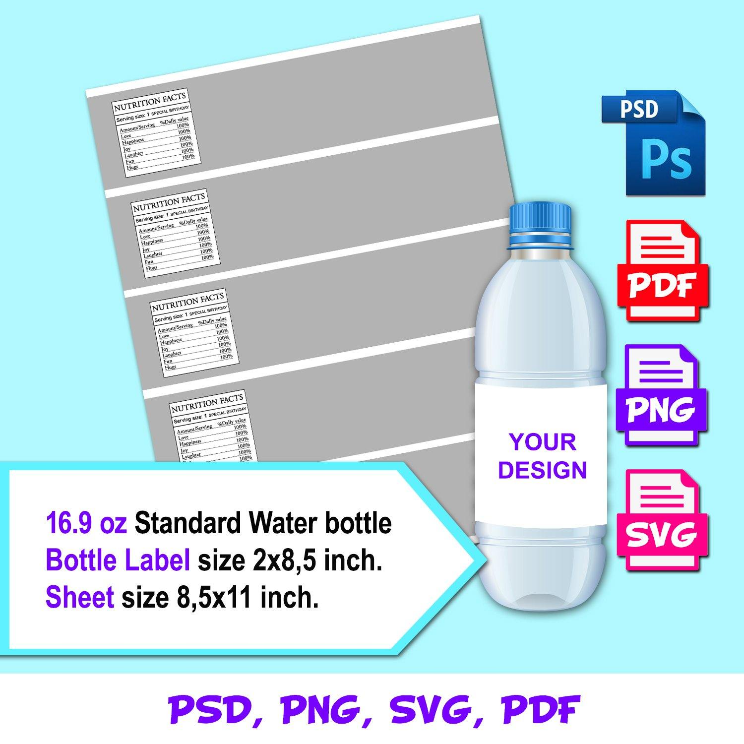 Water Bottle Labels Template, Instant Download Water Bottle Labels Template, PSD, PNG, SVG, PDF - mariiadesignshop