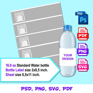 Water Bottle Labels Template, Instant Download Water Bottle Labels Template, PSD, PNG, SVG, PDF