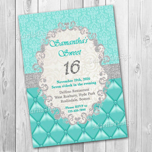 Sweet 16 Invitation, Sweet Sixteen Invitation, Quinceanera invitation, Sweet 16 Birthday Invitation, Party invite, Elegant Invitation - ONLY FILE