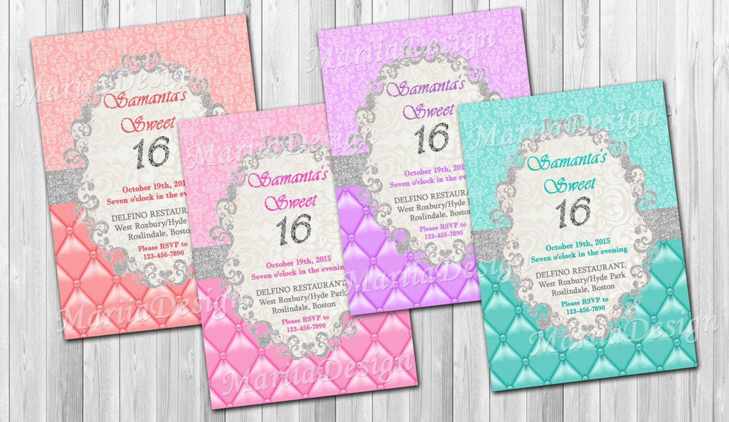 Sweet 16 Invitation, Sweet Sixteen Invitation, Quinceanera invitation, Sweet 16 Birthday Invitation, Party invite, Elegant Invitation - ONLY FILE - mariiadesignshop