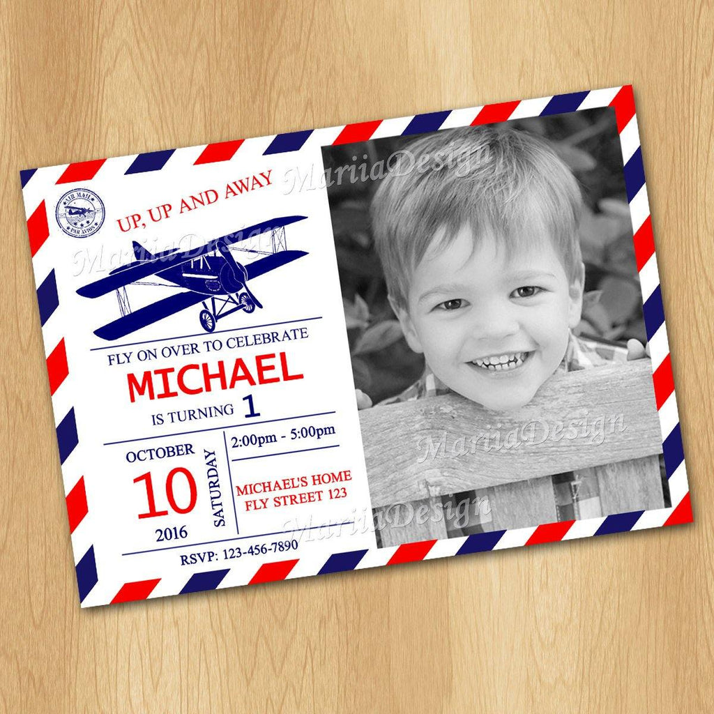 Airplane invite, Retro Airplane Birthday Invitation, Vintage Airplane Birthday Party Invite - ONLY FILE - mariiadesignshop