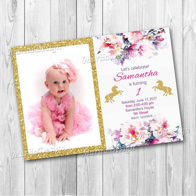Unicorn Birthday Invitation, Unicorn Magical Invitation, Golden Unicorn Invitation, Glitter Unicorn, Unicorn Party Invite - ONLY FILE - mariiadesignshop