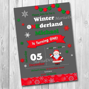 Winter Onederland Invitation, Winter Birhtday Invitation, First Birthday Chalkboard Invitation, Santa Claus Invitation