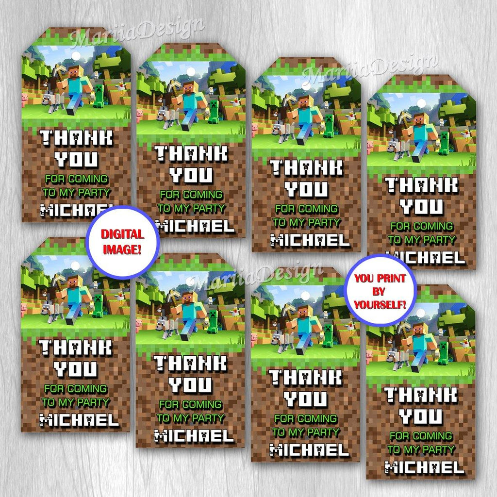 Video Game Thank you tags, Video Game Gift Tags, Video Game Birthday Tags, Video Game Favors, Video Game Party Supplies - ONLY FILE - mariiadesignshop