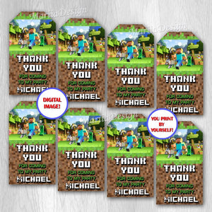 Video Game Thank you tags, Video Game Gift Tags, Video Game Birthday Tags, Video Game Favors, Video Game Party Supplies - ONLY FILE