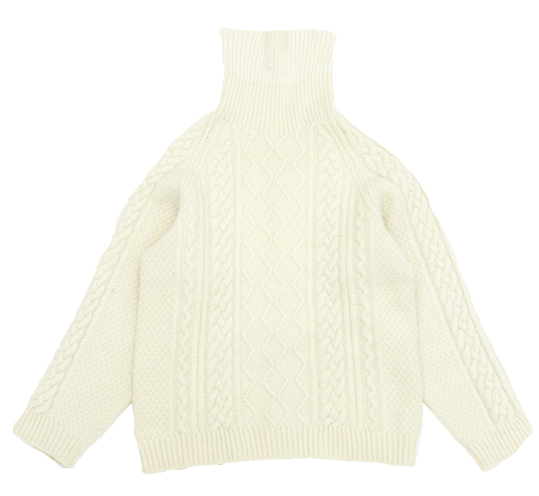 Rex - Cream wool cable knit roll neck jumper
