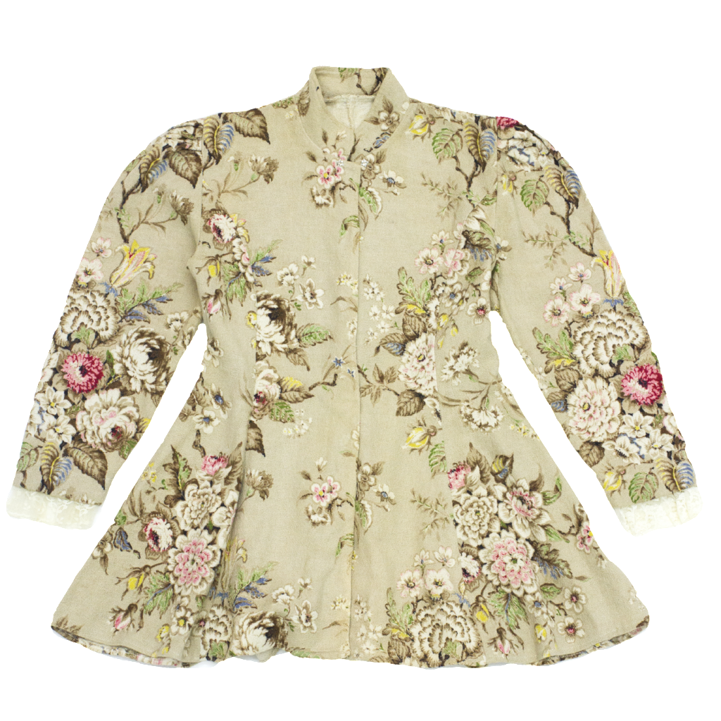 Rex - Beige floral tapestry jacket with lace trim