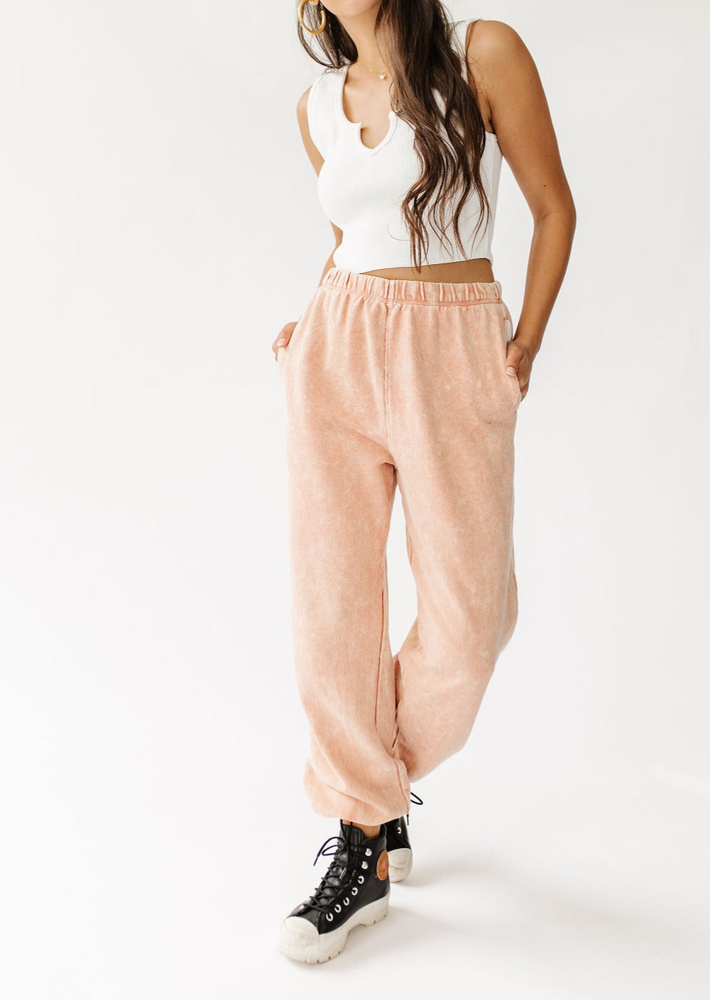 Vibe Check Washed Pant// Peach