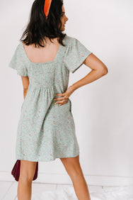 French Picnic Mini Dress// Sky