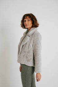Florence Faux-Fur Coat in Grey