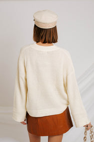 Out Of My Mind Waffle Knit Sweater