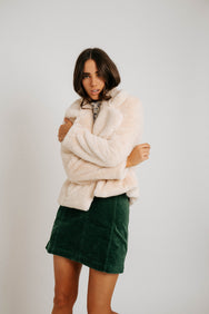 Florence Faux-Fur Coat in Cream