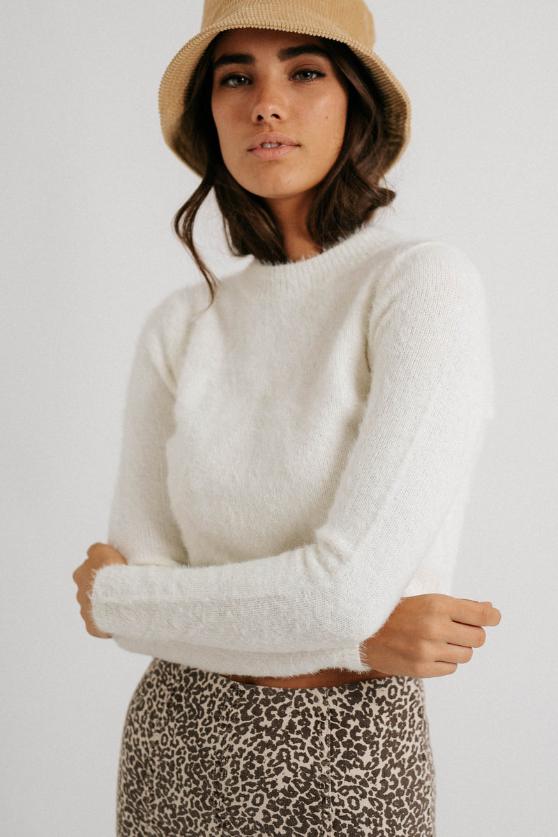 Snow Baby Fuzzy Crop Sweater