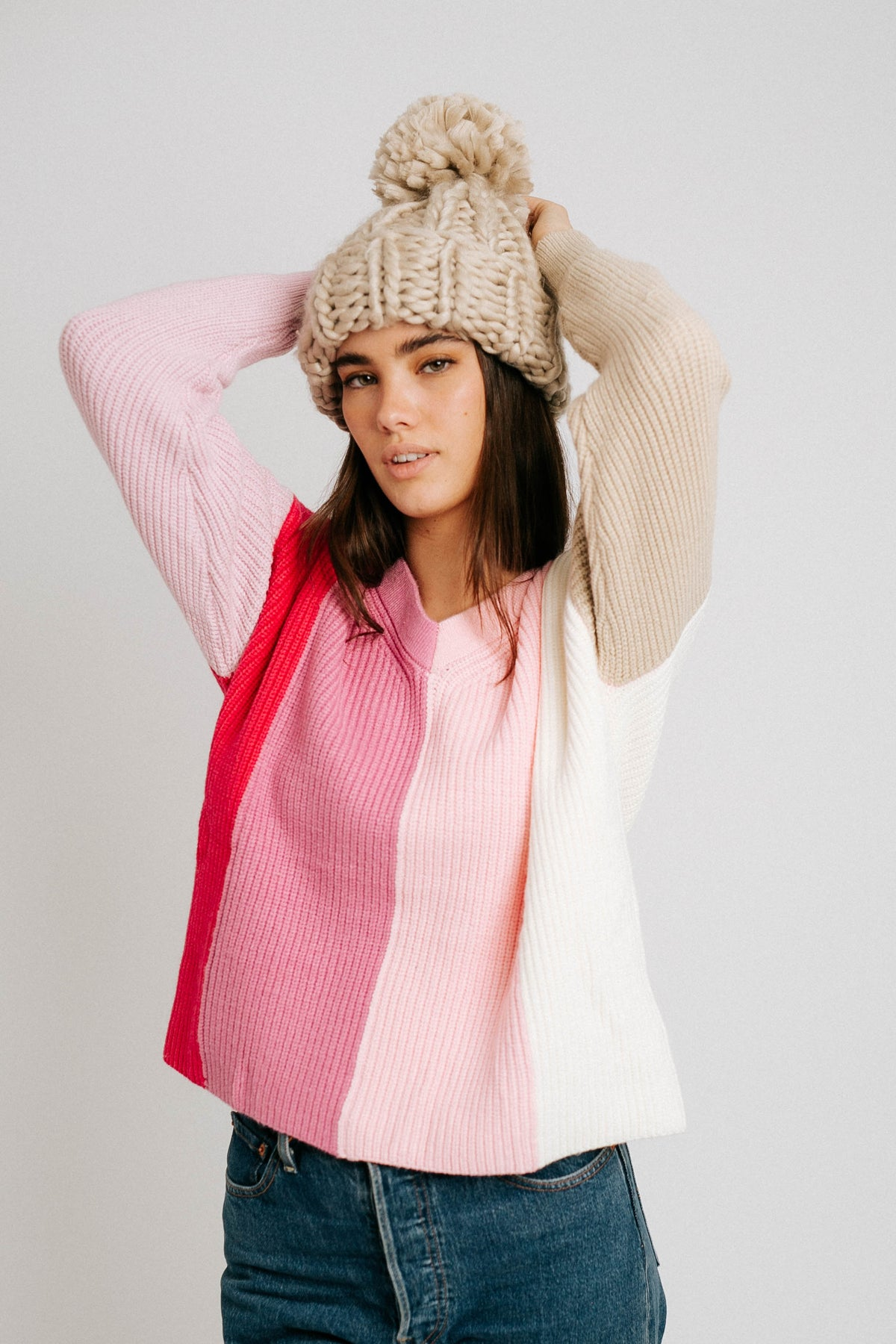 Hearts For You Color Block Sweater