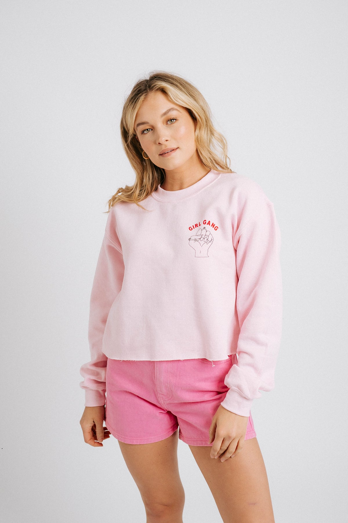 Girls Rule Boys Drool Crop// Baby Pink