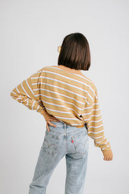 Fine Line Striped Tee// Yellow