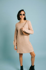 Snow Drop Sweater Dress// Taupe