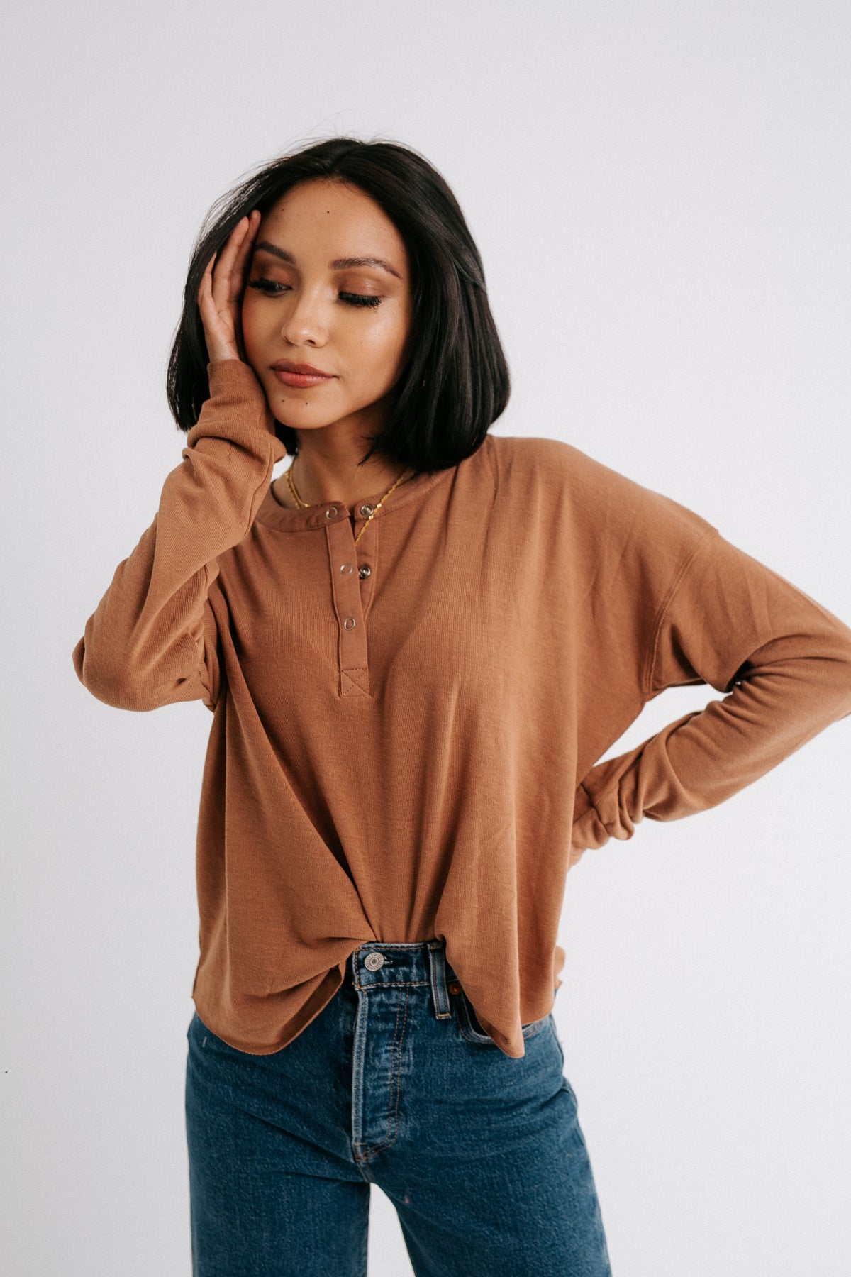 Chocolate Henley Top