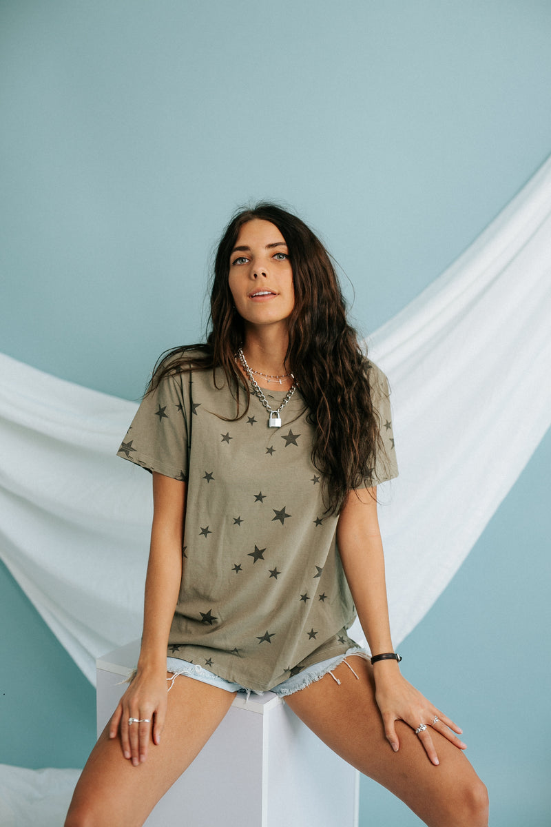 Seeing Stars Distressed Tee in Olive