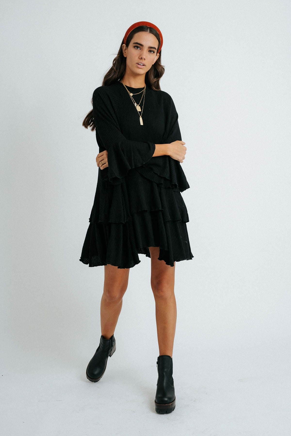 Sweet Sunday Ribbed Dress// Black