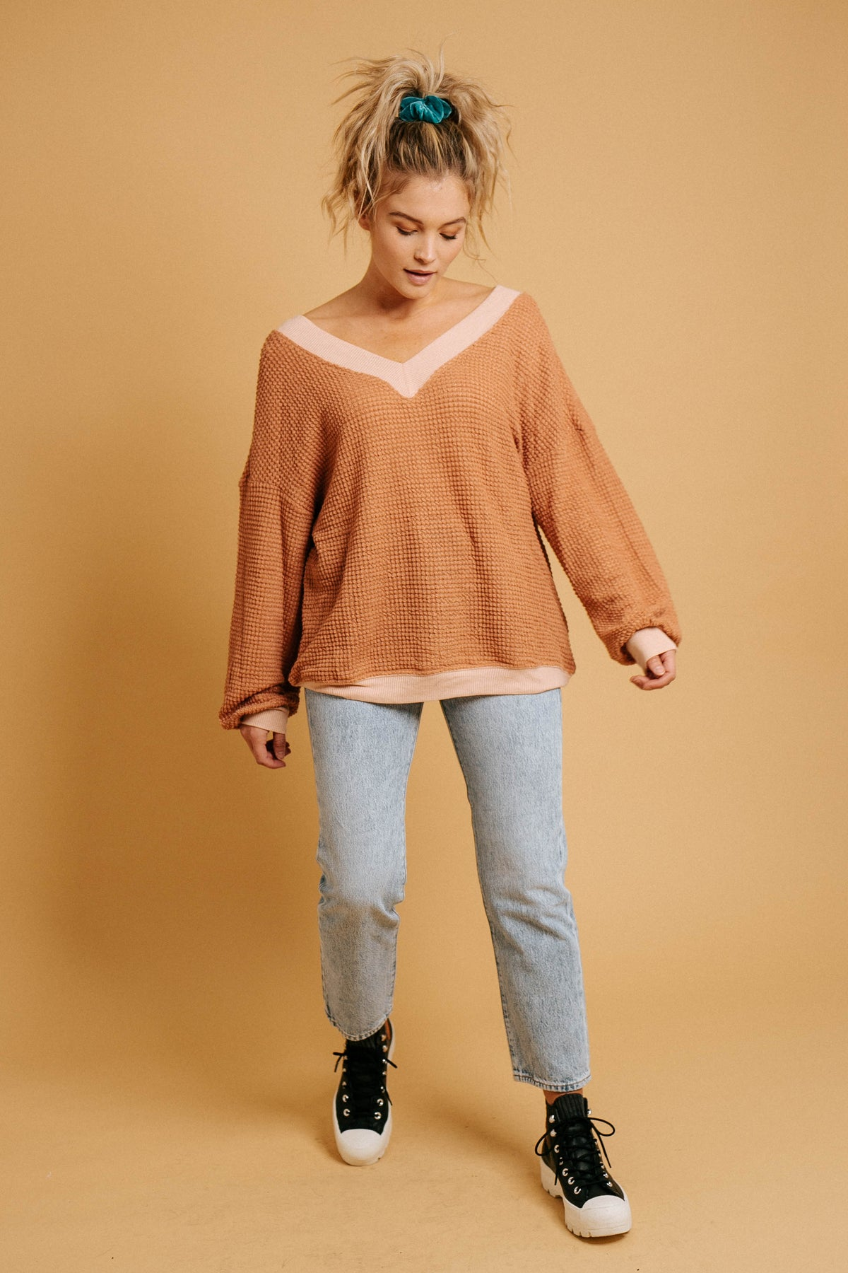 October Feels Waffle Knit Top