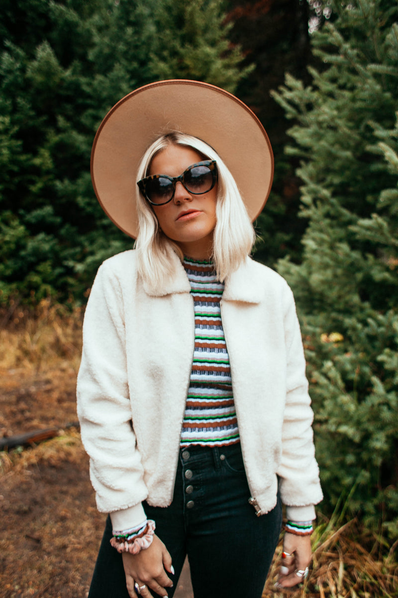 Teddy Faux Fur Bomber-IVORY