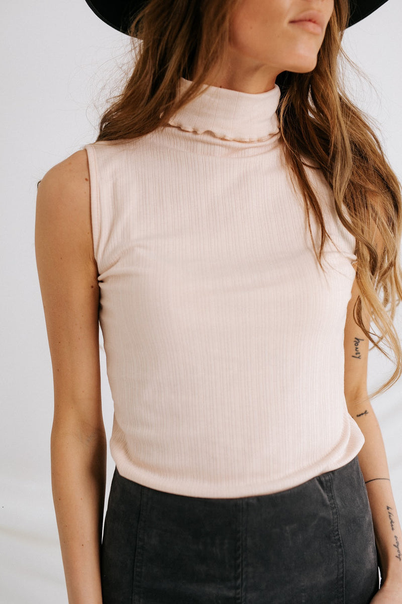 Blush Babe Ribbed Mock Neck