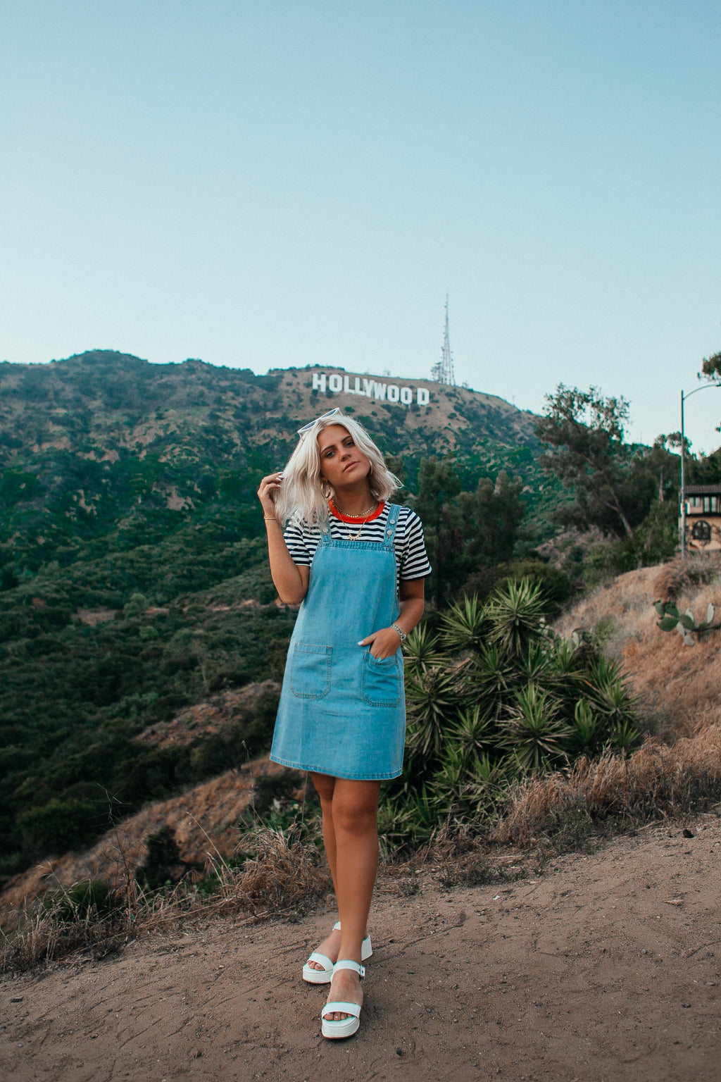 THE HOLLYWOOD Denim Dress in Light Wash