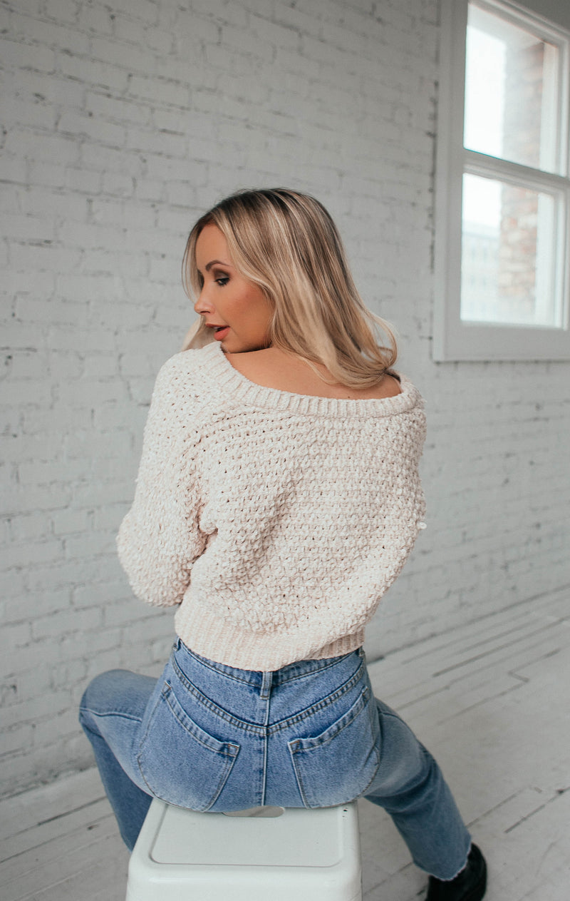 Silent Storm V-Neck Sweater- Ivory