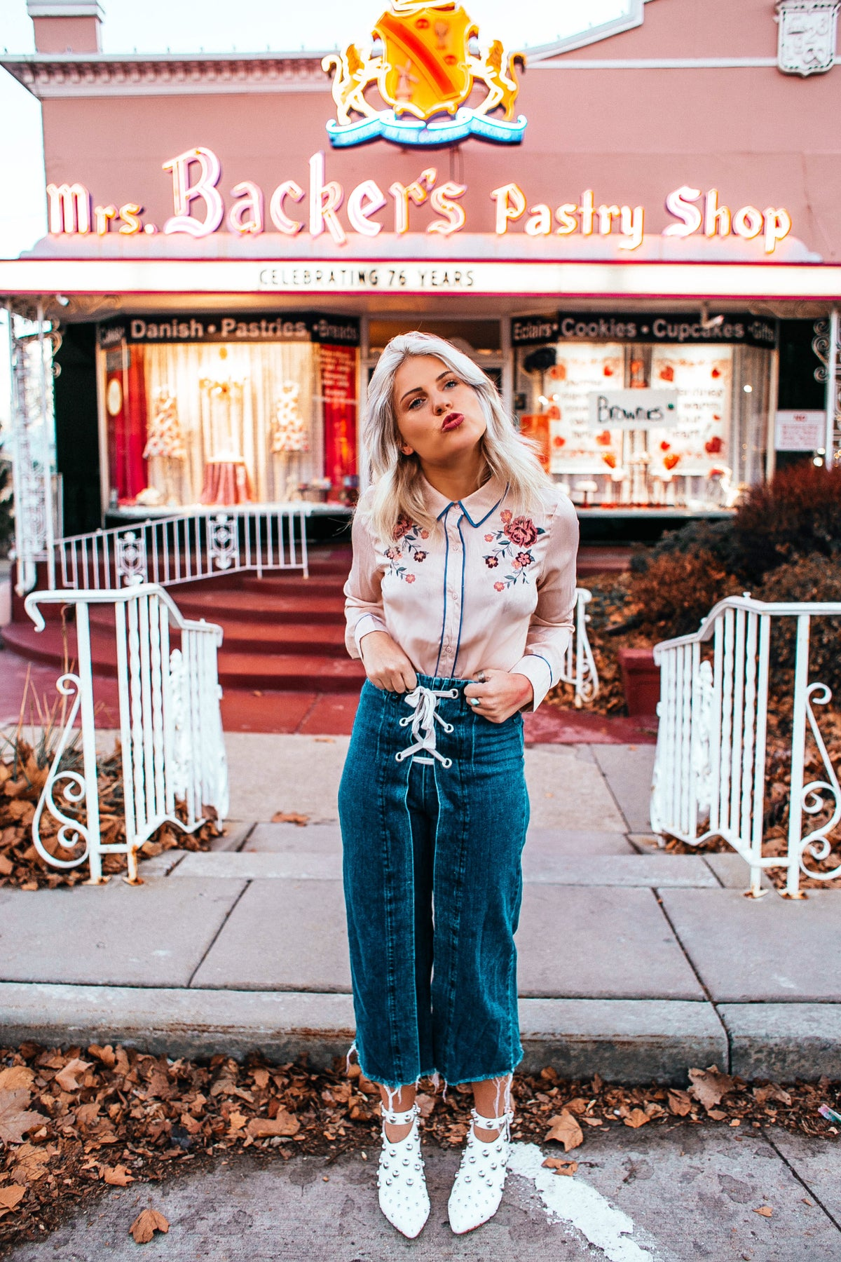 Sweet Treats Embroidered Button Up