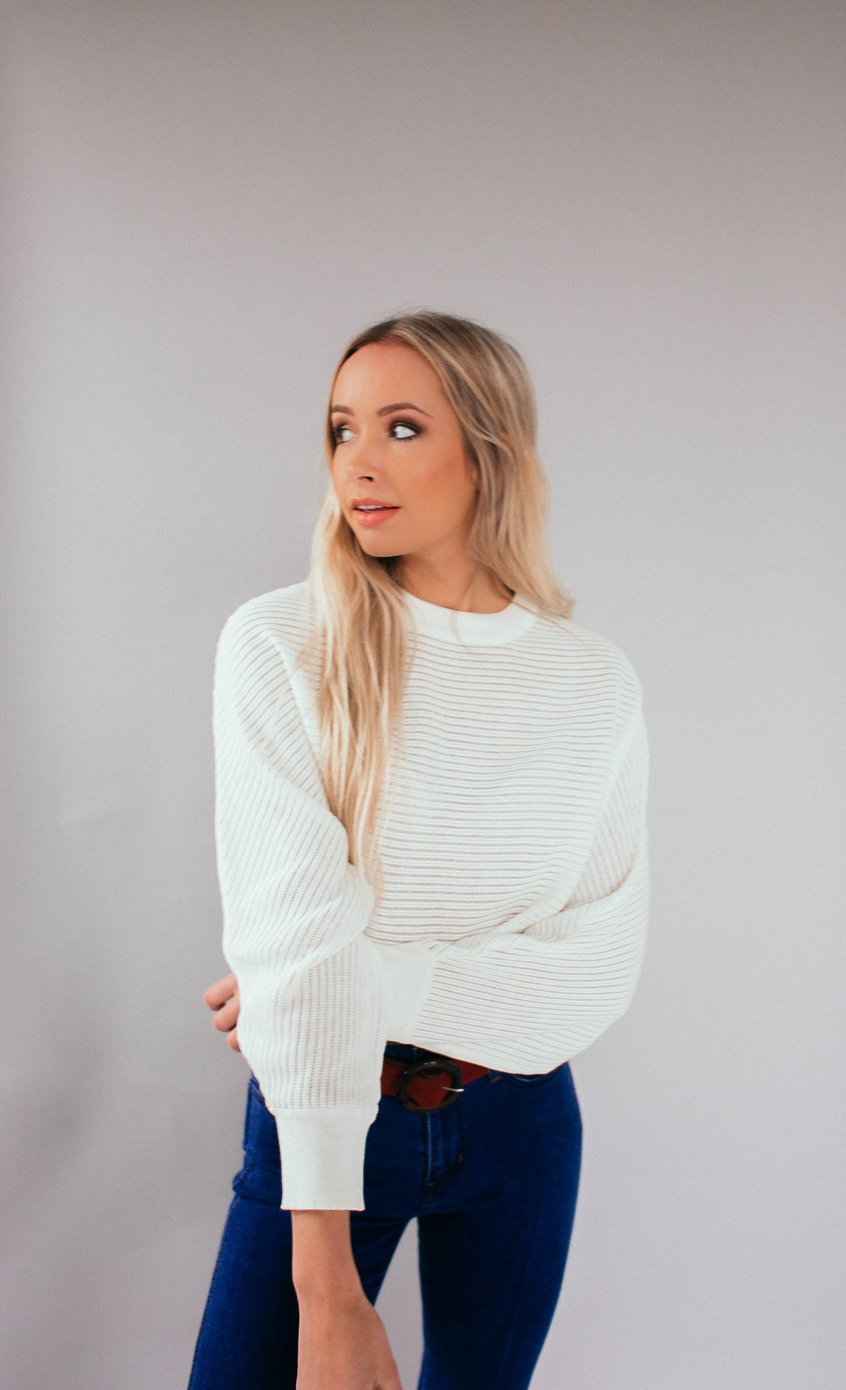 Break Away Crop Sweater in White