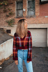 Perfect Plaid V-Neck Crop Sweater