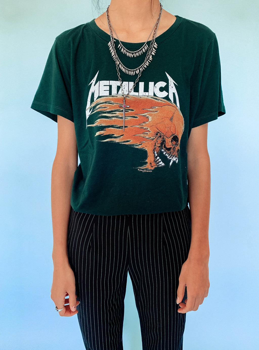 Metallica Flaming Skull Boyfriend Tee