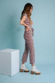 Retro Stripes Ribbed Jumpsuit