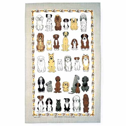 'Dogs Arrived' Linen Tea Towel