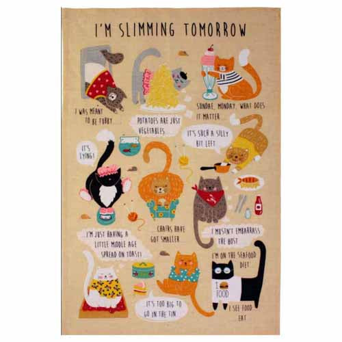 'I'm Slimming Tomorrow' Linen Tea Towel