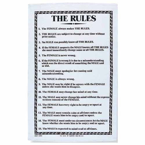 'The Rules' Linen Tea Towel